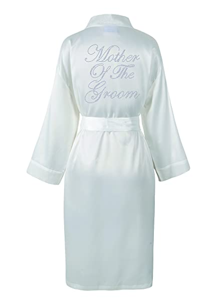 b47bcbff0b CrystalsRus Ivory Mother of the Groom Satin Rhinestone Bathrobe Personalised  Diamante Dressing gown Kimono