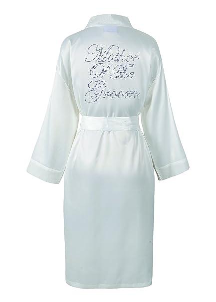 CrystalsRus Ivory Mother of the Groom Satin Rhinestone Bathrobe Personalised  Diamante Dressing gown Kimono  Amazon.co.uk  Kitchen   Home e09dcab8a99