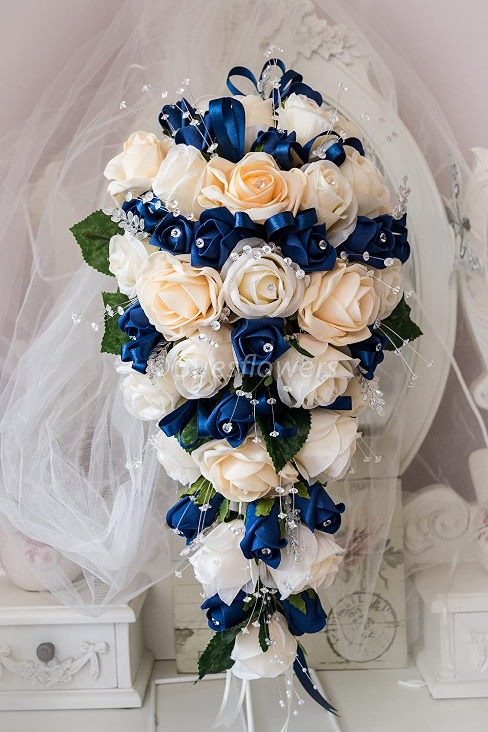 Wedding Flowers Brides Bouquet In Champagne And Navy Blue Roses