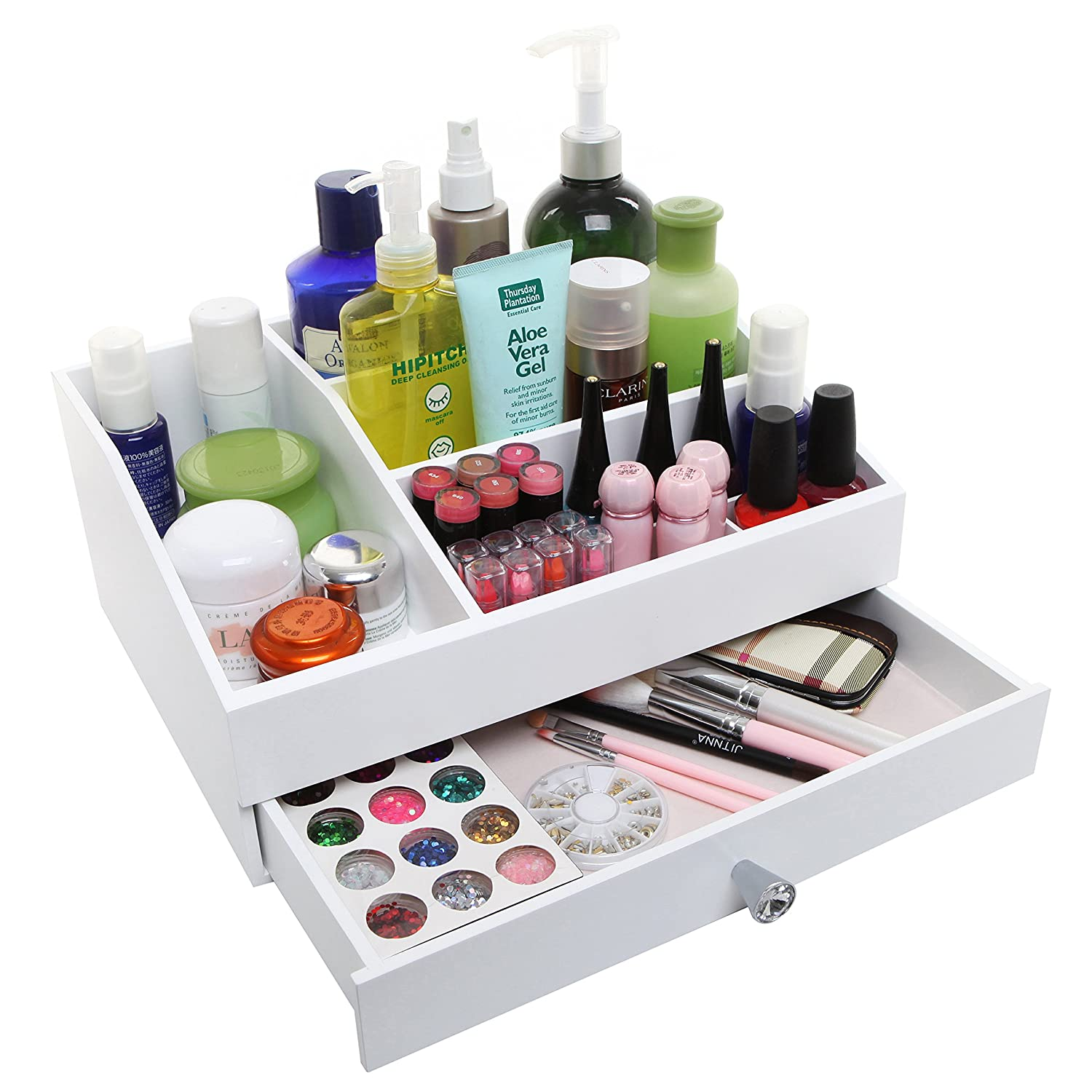 Amazon.com: Desktop Shabby Chic Wood Cosmetic Makeup Organizer Box ...