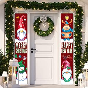 2 Pieces Tomte Gnomes Porch Signs Merry Christmas Outdoor Porch Banners Happy New Year Front Door Decorations Xmas Santa Porch SignsChristmas Hanging Banners for Home Indoor Outdoor Holiday Party