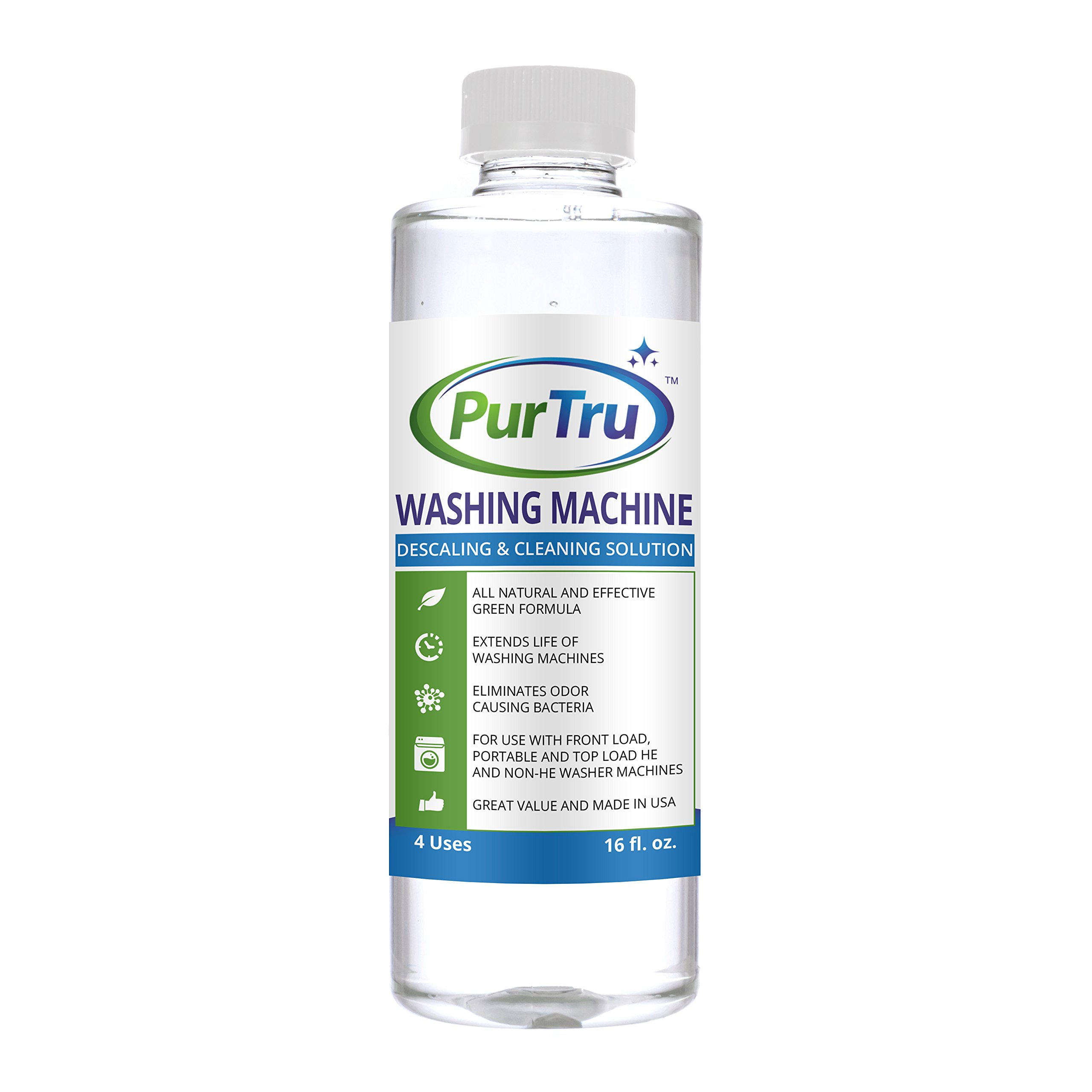 Washing Machine Cleaner - All Natural and Safe Descaling & Cleaning Solution For Maytag, Whirlpool, Kenmore And All Top Load, Front Load, Portable, HE and Non-HE Washers