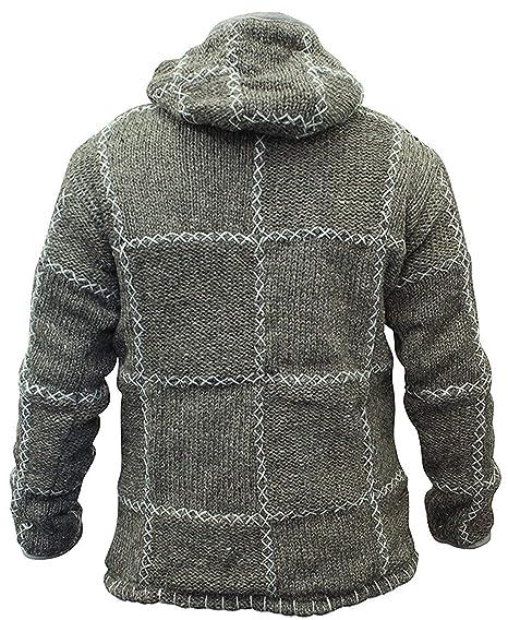 shopoholic fashion homme 100% laine tricoté HIPPIE pull à capuche veste fermeture éclair