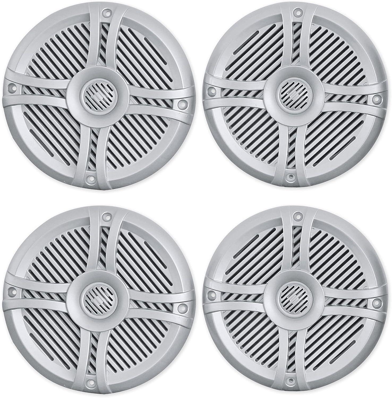 """(4) Rockville RMSTS65S 6.5"""" 1600w Waterproof Marine Boat Speakers 2-Way Silver"""