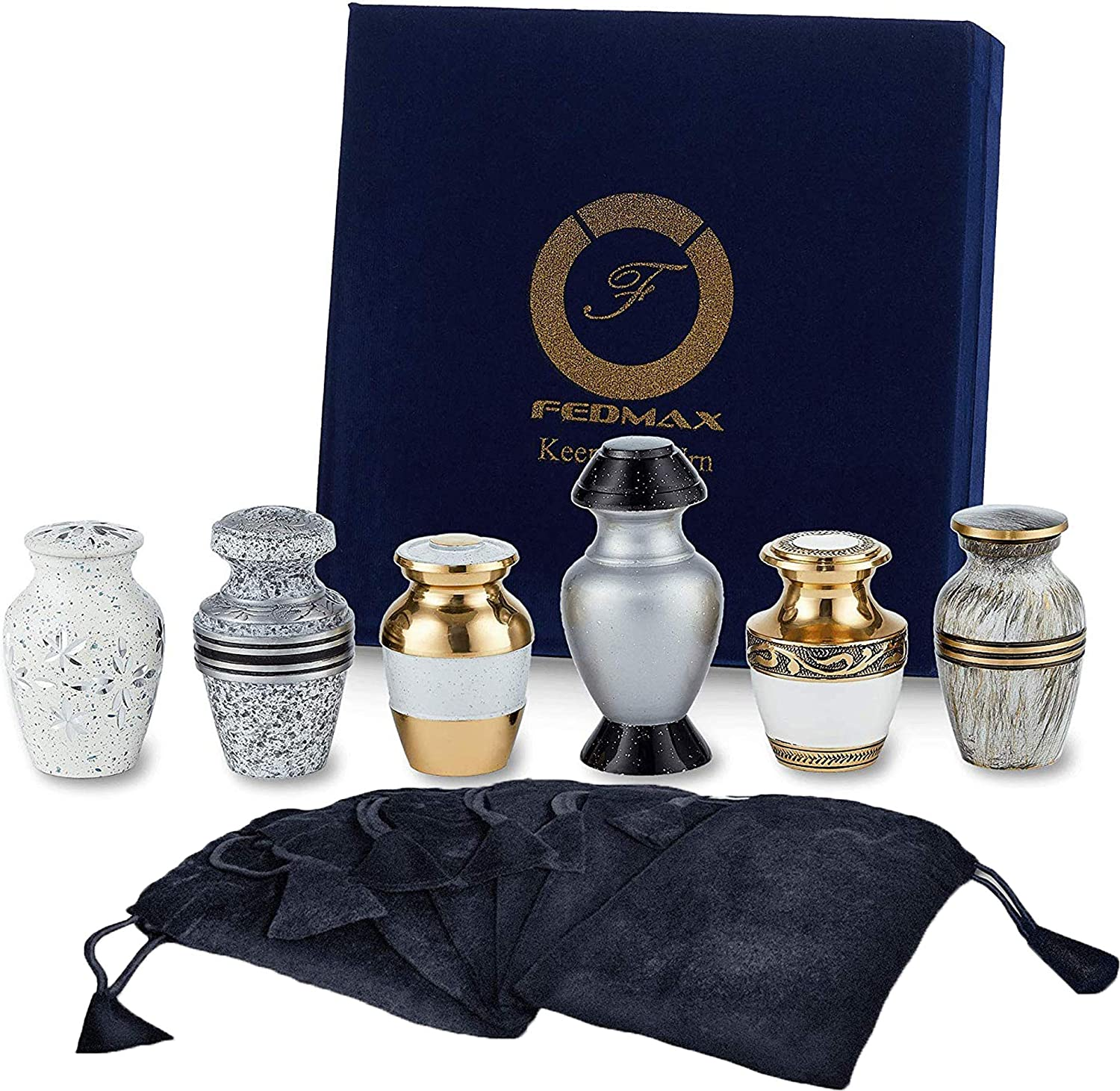 Fedmax Small Urns for Human Ashes - Set of 6 White Decorative Cremation Keepsakes with Velvet Box - Memorial Urn and Burial Ash Storage for Family & Loved Ones