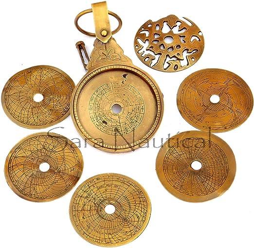 "Nautical Brass Astrolabe 5/"" Arabic Globe Navigation Astrological Calendar Decor"