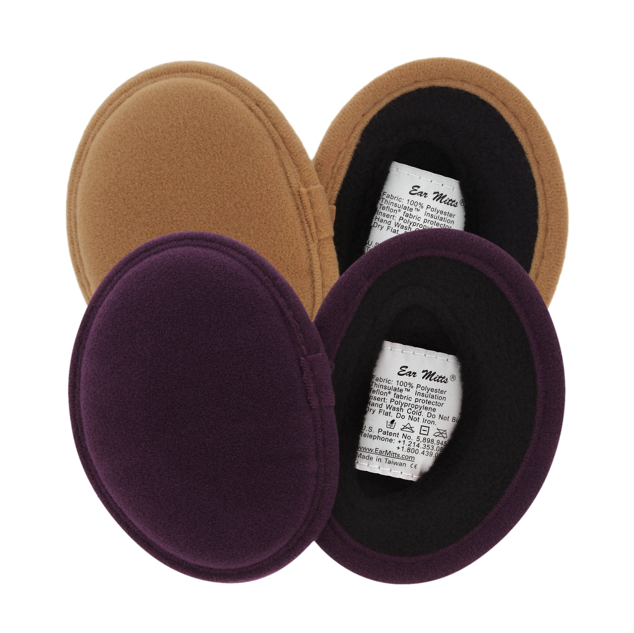 2 Pack Ear Mitts Faux Suede Bandless Ear Muffs Warmers, Camel & Eggplant, Regular