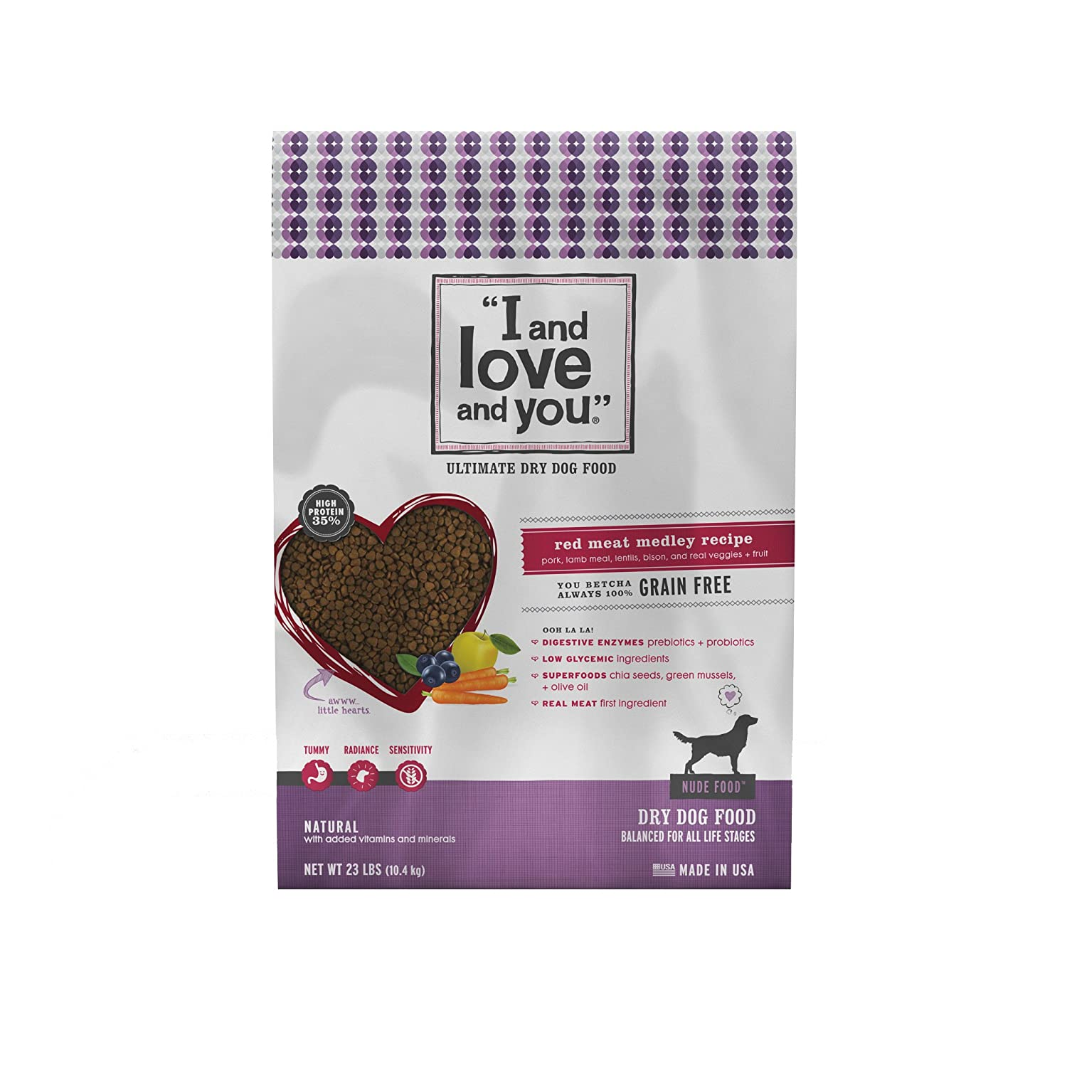 """I and love and you"" Nude Food Red Meat Medley Grain Free Dry Dog Food, 23 LB"