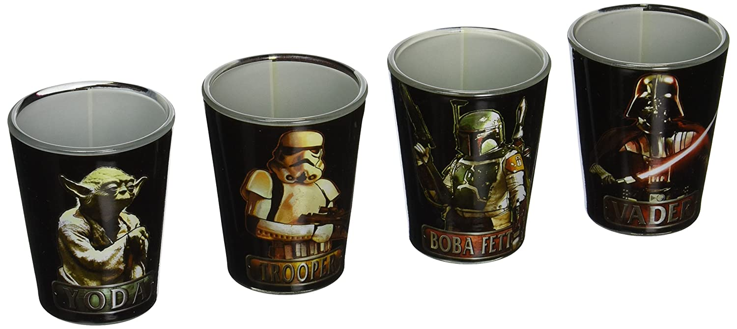 4-Pack Disney Silver Buffalo SW031SG1C Star Wars Characters Mini Glass Set