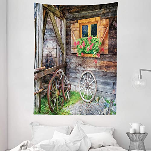 Ambesonne Shutters Tapestry, Weathered Window with Flowers in Pot Wheels Farmhouse Rural Scene Front View, Wall Hanging for Bedroom Living Room Dorm, 60 X 80 , Brown Green Red