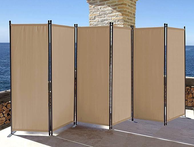 QUICK STAR Paravent 340 x 165 cm Tejido Divisor de habitación Jardín 6-Partición Pared de separación Plegable Balcón Pantalla de privacidad Beige: Amazon.es: Hogar