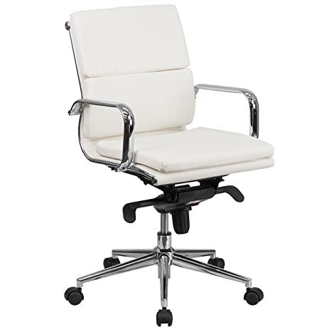 White Leather Office Chair   U0026quot;Queen Staru0026quot; Slim U0026 Tall Conference  Room Chairs