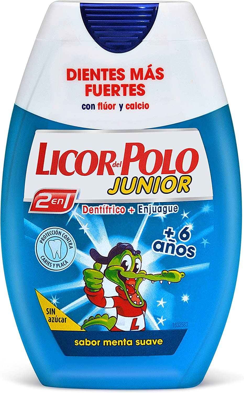 Licor del Polo Dentífrico + Enjuague 2 en 1 +6 Años Menta - 75 ml ...