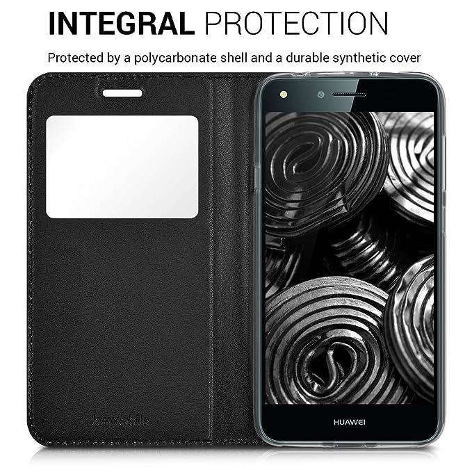 kwmobile Funda para Huawei Y6 II Compact (2016) - Carcasa de Cuero sintético con Ventana - Case con Solapa Negro