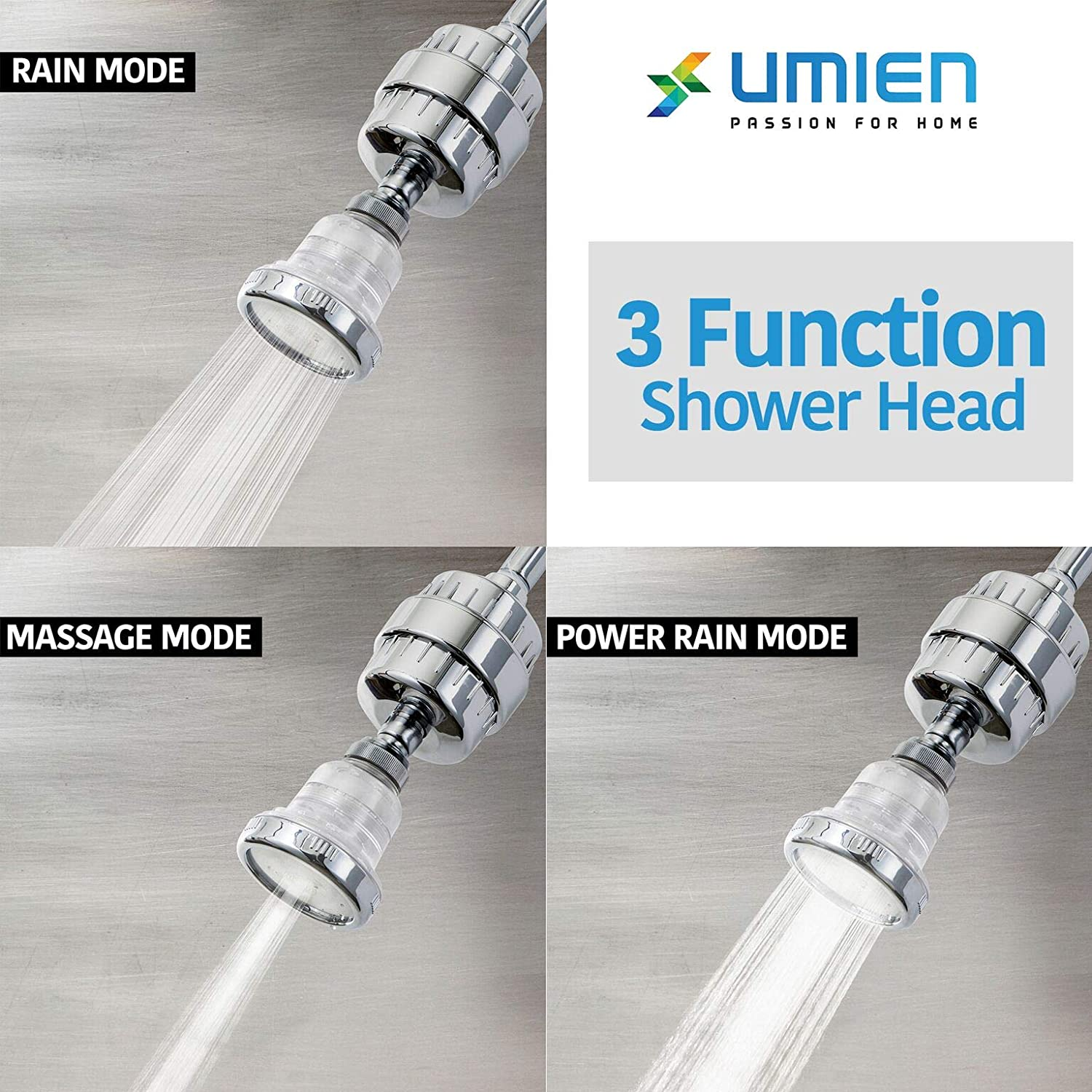 15 Stage Shower Head Filter Includes Shower Head And 2 Filter Cartridges Softens Hard Water Shower Head Filter Removes Chlorine And Chloride-Full Of Vitamins And Nutrients for Rich Healthy Skin