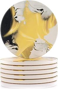 Nasema Kitchen 6 Pcs Absorbent Coasters of Ceramic Stone with Beautiful Gold Pattern and Cork Base
