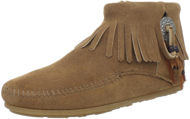 Minnetonka Women's Concho/Feather Side Zip Boot B00742SOKU 5.5 B(M) US|Taupe