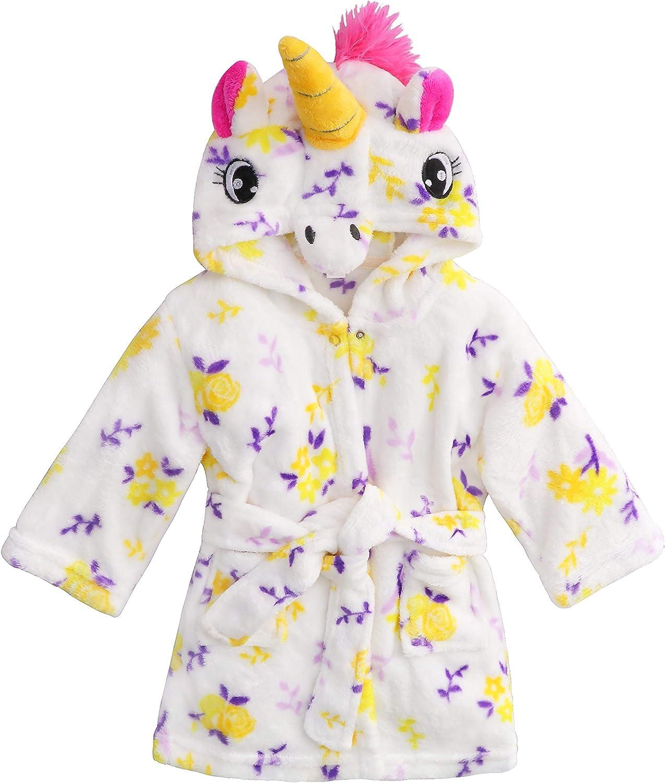 Soft Plush Animal Unicorn Hooded Robe for Baby Girls