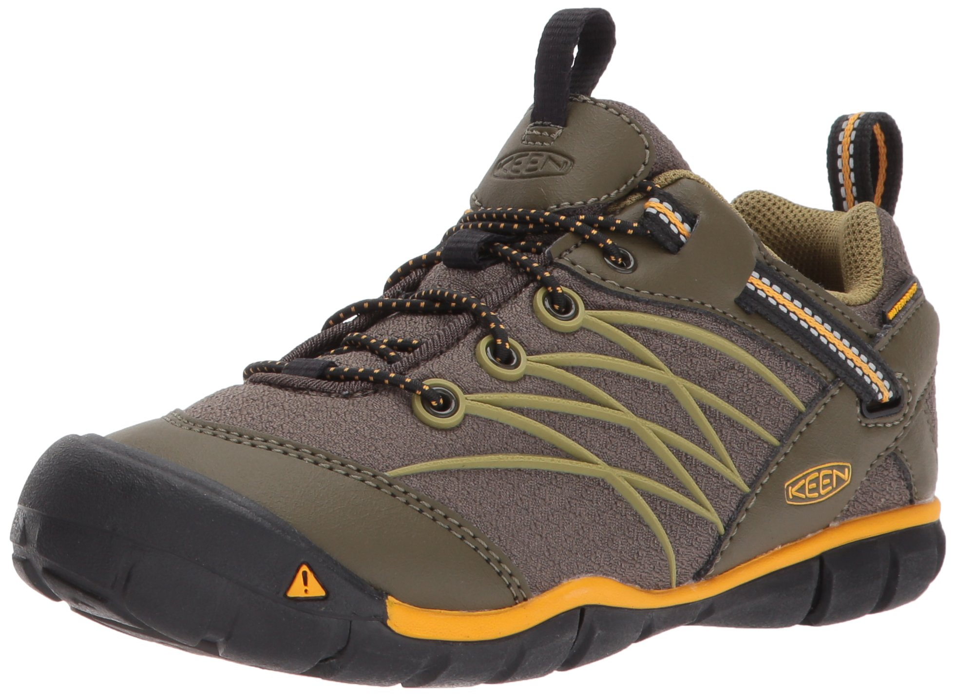 Keen Unisex Kid's Chandler CNX WP Hiking Shoe Dark Olive/Citrus 6 Youth US Big Kid