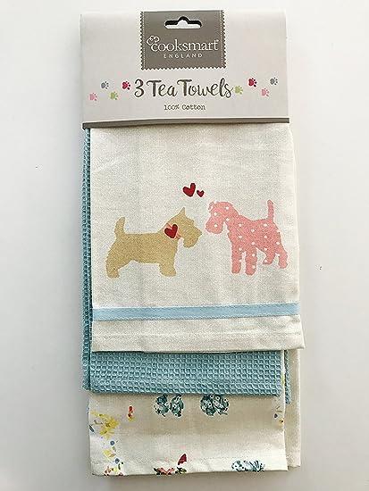 Patchwork perros – 3 Pack toallas de té por Cooksmart Inglaterra