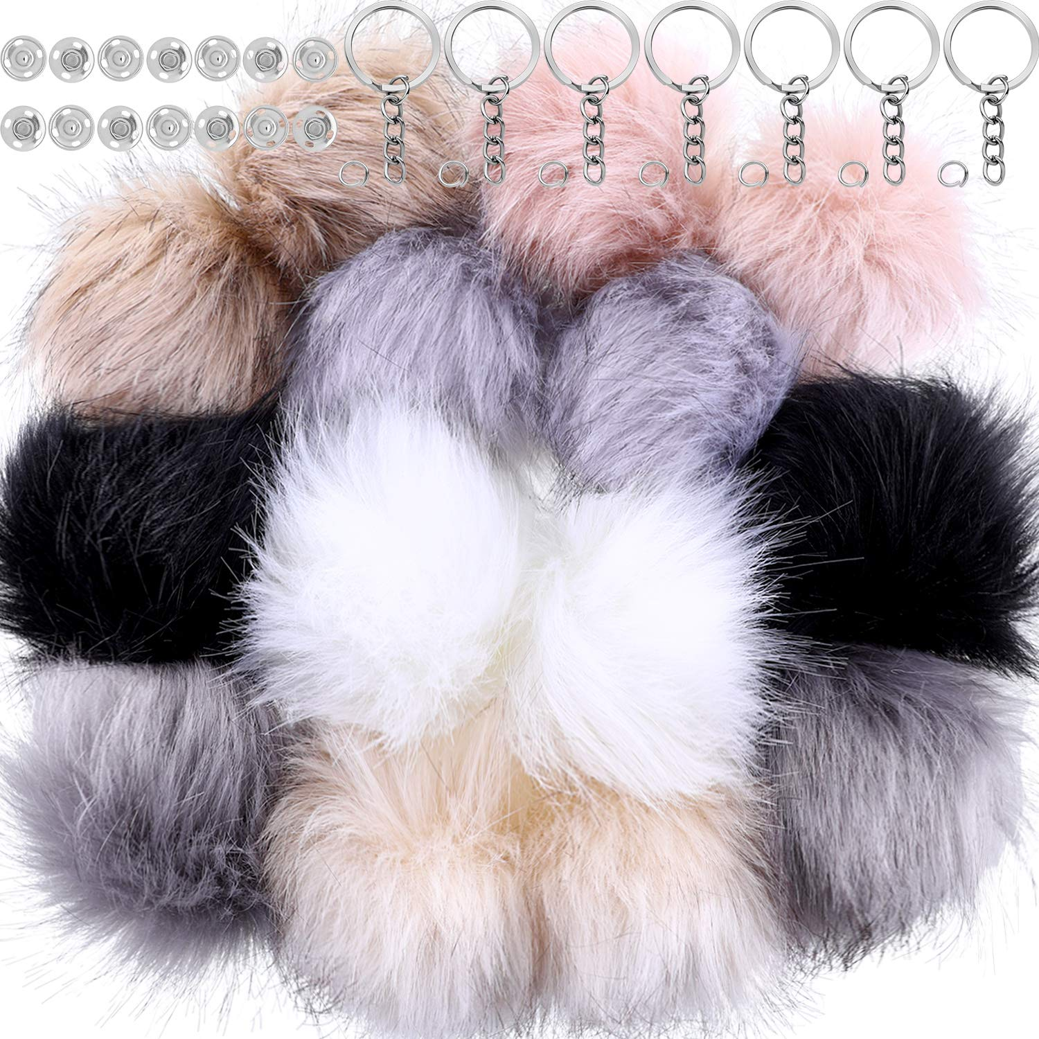 Tatuo 14 Pieces Faux Fox Fur Fluffy Pompom Ball for Hat Shoes Scarves Bag Charms Accessories with Removable Press Buttons and Key Rings