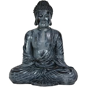 "Oriental Furniture 12"" Japanese Sitting Buddha Statue"