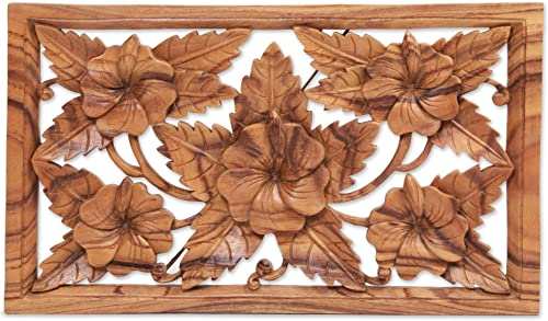 NOVICA Floral Large Wall Wood Sculpture