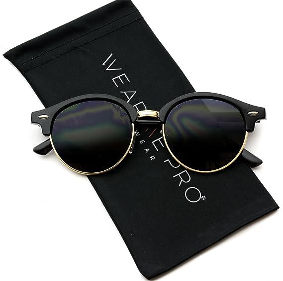 9f20678eb6 Image Unavailable. Image not available for. Color  WearMe Pro - Round Retro  Semi Rimless Retro Sunglasses