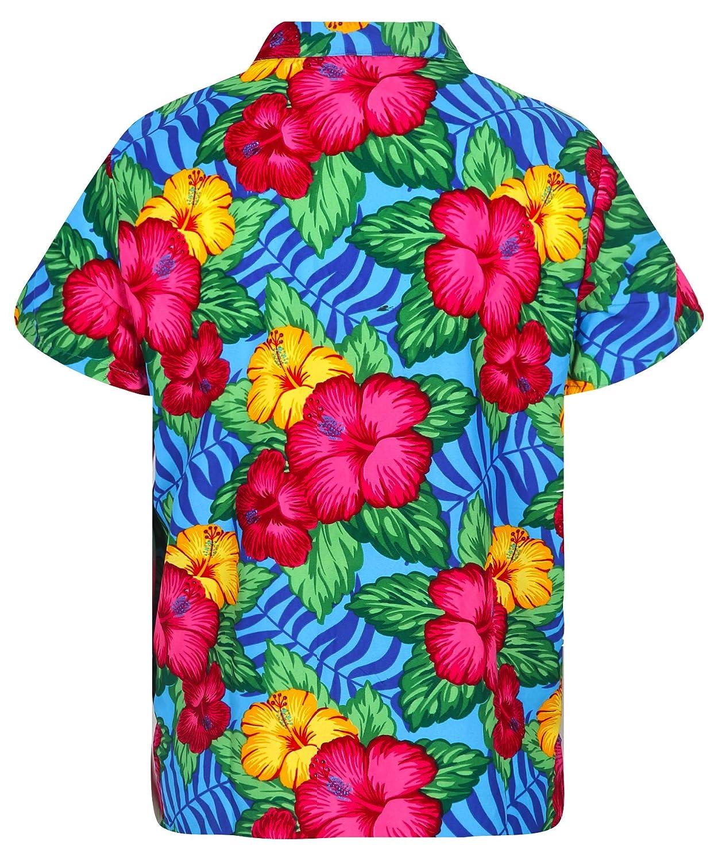 Virgin Crafts Classic Hawaiian Shirt for Men Button Down Hibiscus Floral