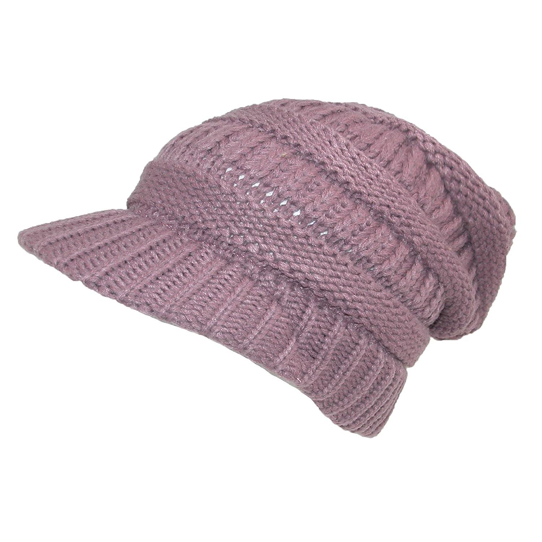 CTM Womens Chunky Knit Slouchy Beanie Beret Mauve DW-4326-MAU