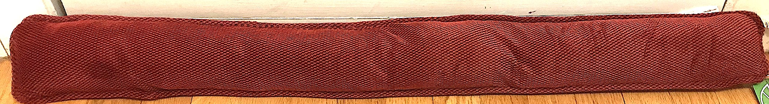 Nantucket Home 36'' inch Draft Blocker with Rope Handle: Velvet Fleece Texture with Two Tone Pattern. Save Energy. Keep the Cold Out! … (Red Black)