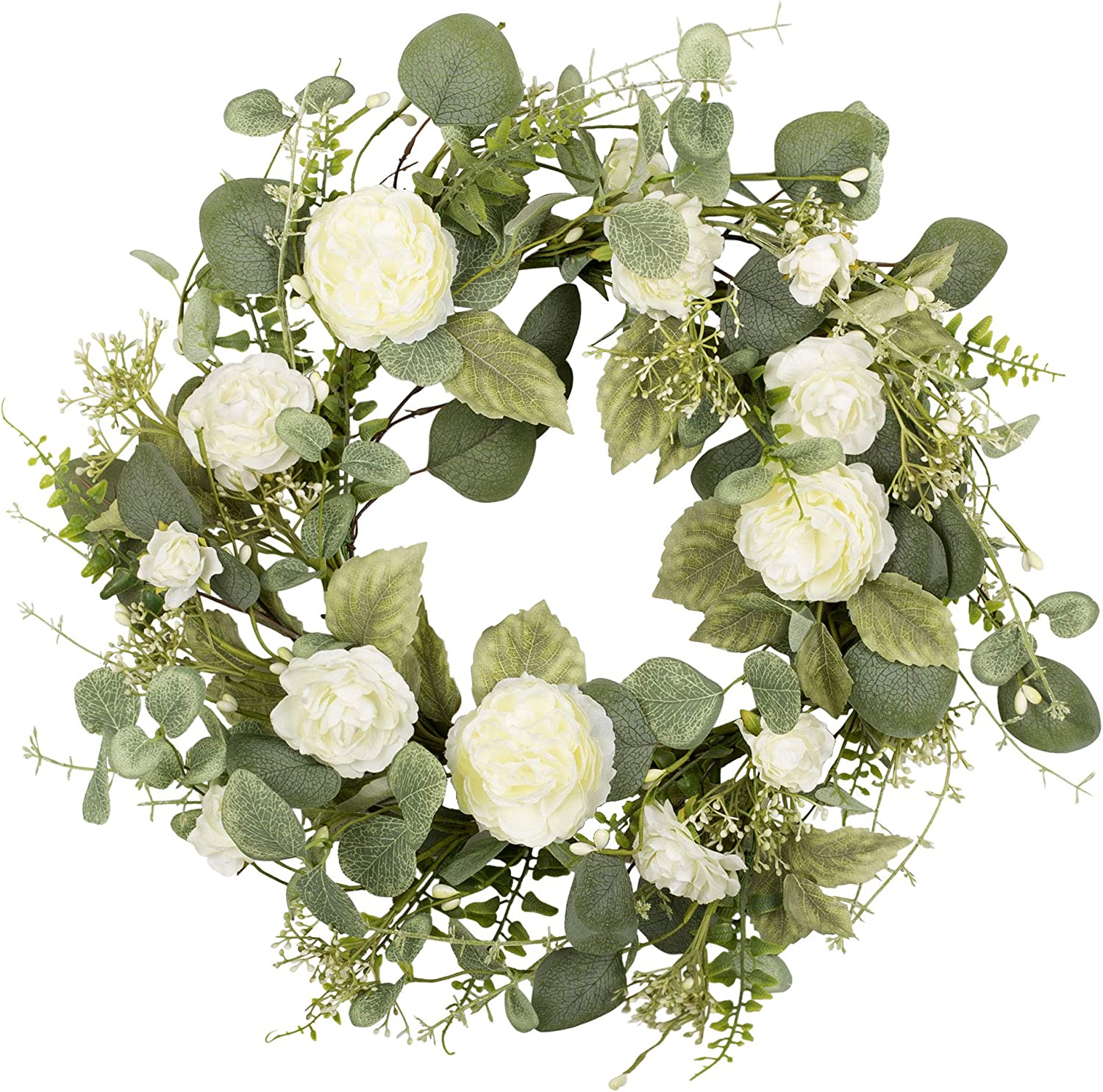 Amazon Com 18 Inch Artificial Spring Wreath White Peony Floral Wreath For Front Door Wall Wedding Party Home Decor Kitchen Dining