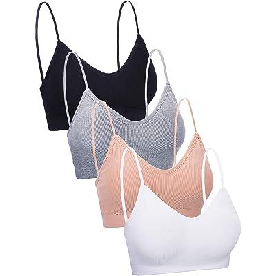 4 Pieces V Neck Cami Bra Padded Seamless Bralette Straps Sleeping Bra for Women Girls at Women's Clothing store
