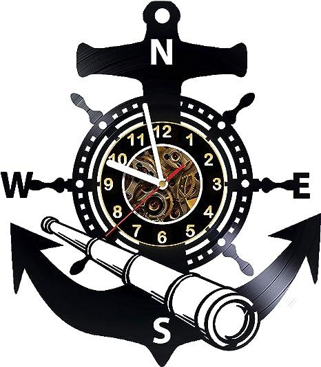 Amazon Com Alinasshop Seaman Anchor Sea Wall Clock Made Of Vinyl Record Handmade Unique Design Great Gifts Idea For Birthday Women Men Friends Girlfriend Boyfriend And Teens Home Kitchen