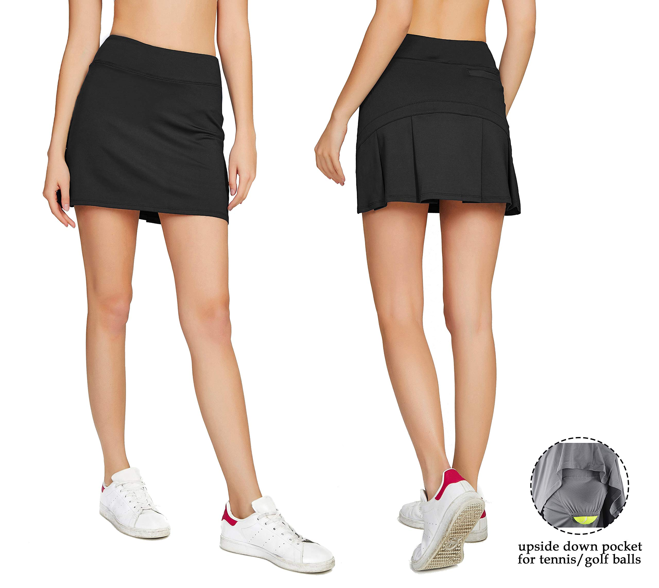 Cityoung Women's Casual Pleated Golf Skirt with Underneath Shorts Running Skortss black1