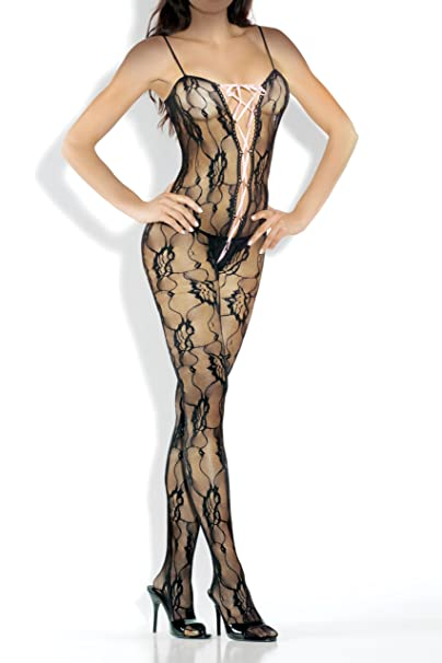 ea513576650 Amazon.com  Fantasy Lingerie Women s Bodystocking with Lace Up Front ...