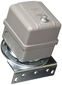 Square D 9016 Commercial Electromechanical Vacuum Switch, NEMA 1, DPDT, 5-25 in. of Hg Cut-Out Range, 16.5-25 in. of Hg Settings, Mounting Bracket