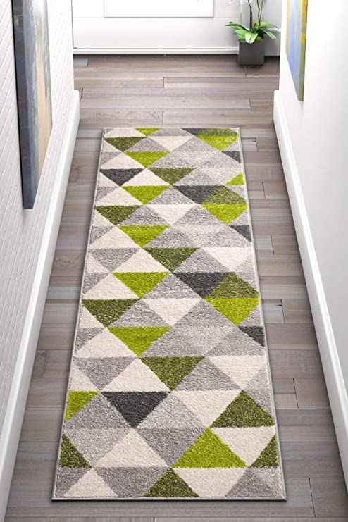 Well Woven Isometry Green & Grey Modern Geometric Triangle Pattern Area Rug  Soft Shed Free 2 x 7 (2' x 7'3