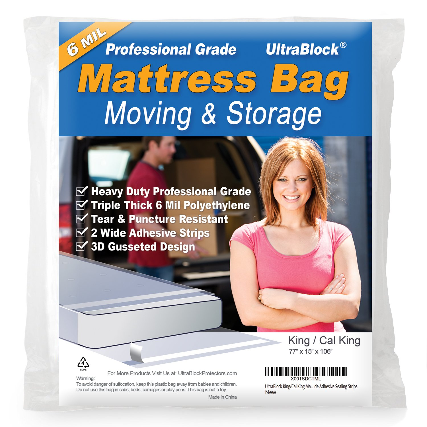UltraBlock Mattress Bag for Moving & Storage - King/Cal King Size Heavy Duty Triple Thick 6 mil Tear & Puncture Resistant Bag with Two Extra Wide Adhesive Strips