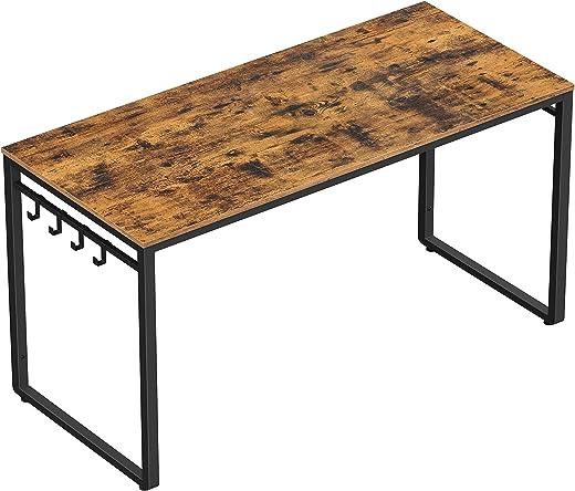 VASAGLE Schreibtisch, Computertisch, Bürotisch mit 8 Haken, 140 x 60 x 75 cm, Arbeitszimmer, Homeoffice, Büro, einfacher Aufbau, Metall,…