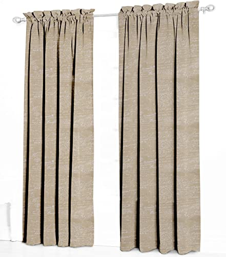 Urbanest French Scripted Linen Designer Drapery Curtain Panels Two Panels , Cream, Unlined 96