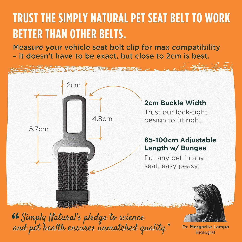 Cintura di Sicurezza per Animali Domestici Simply Natural Cintura di Sicurezza per Cani con Cinghia Elastica da 70-80 cm con Clip Compatibile