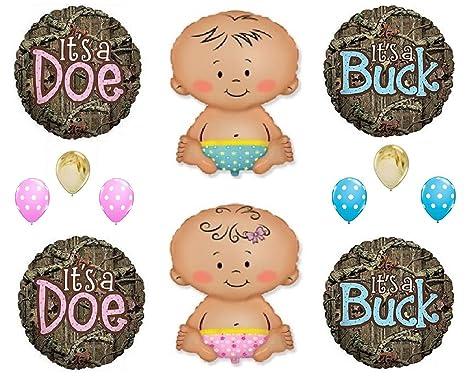 9ab3c7f267591 Amazon.com: Gender Reveal It's A Buck Baby Boy Doe Baby Girl Mossy ...