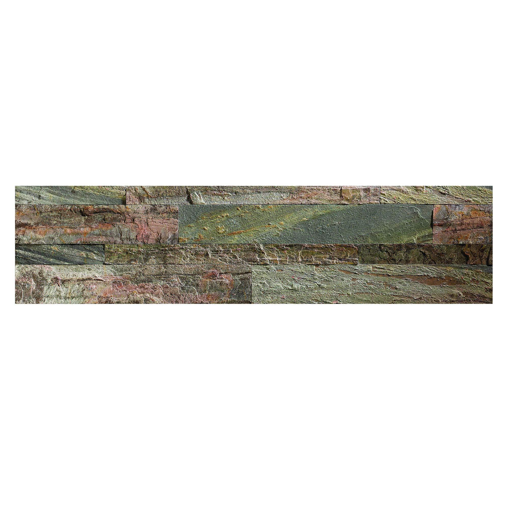 Aspect Peel and Stick Stone Overlay Kitchen Backsplash - Weathered Quartz (5.9'' x 23.6'' x 1/8'' Panel - Approx. 1 sq ft) - Easy DIY Tile Backsplash