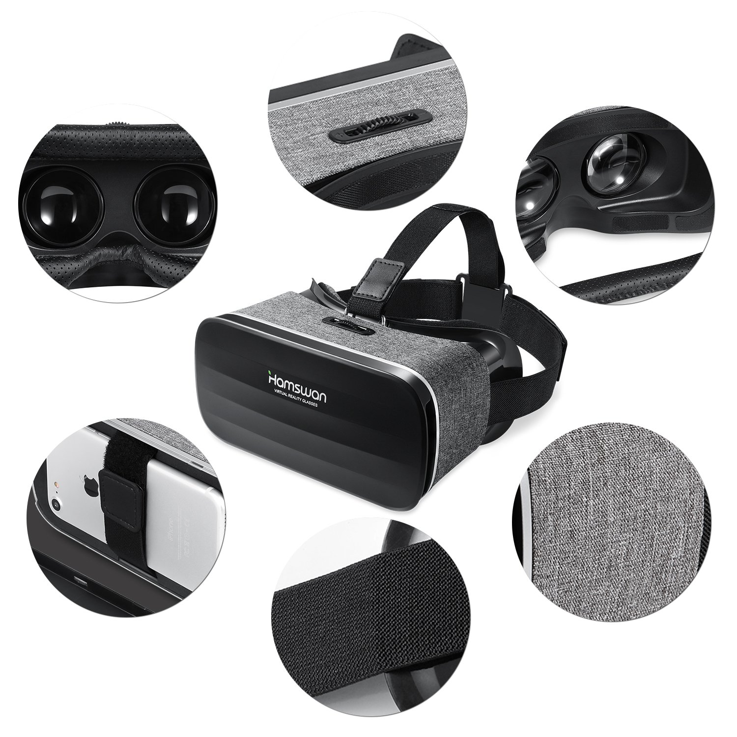 3D Virtual Reality Headset, HAMSWAN VR Goggles VR Glasses VR Headset for TV, Movies & Video Games - Light Weight VR Goggles Compatible with iOS, Android and Other Phones within 4.0-6.0 Inch by HAMSWAN (Image #3)