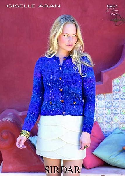 Sirdar para mujer Giselle Aran Chanel-chaqueta patrón para tejer 9891