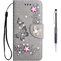 Grandoin Galaxy S9 Case, Floral Bling Sparkly Diamonds Gems Butterfly Pattern Design Premium PU Leather Magnetic Flip Cover with Card Slots Bookstyle Wallet Case For Samsung Galaxy S9 (Gray)