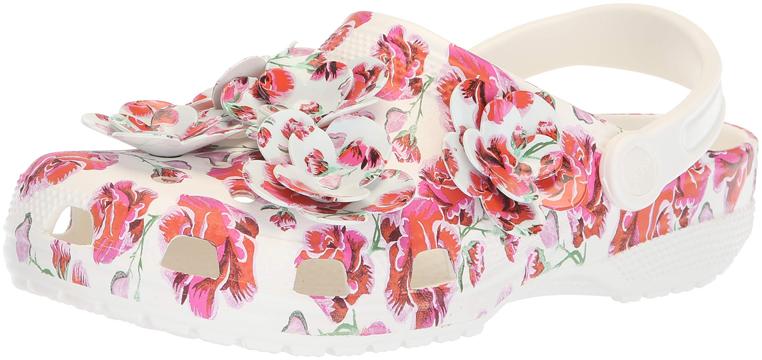 Crocs Classic Timeless Clash Roses Clog, Floral/White, 5 US Men / 7 US Women