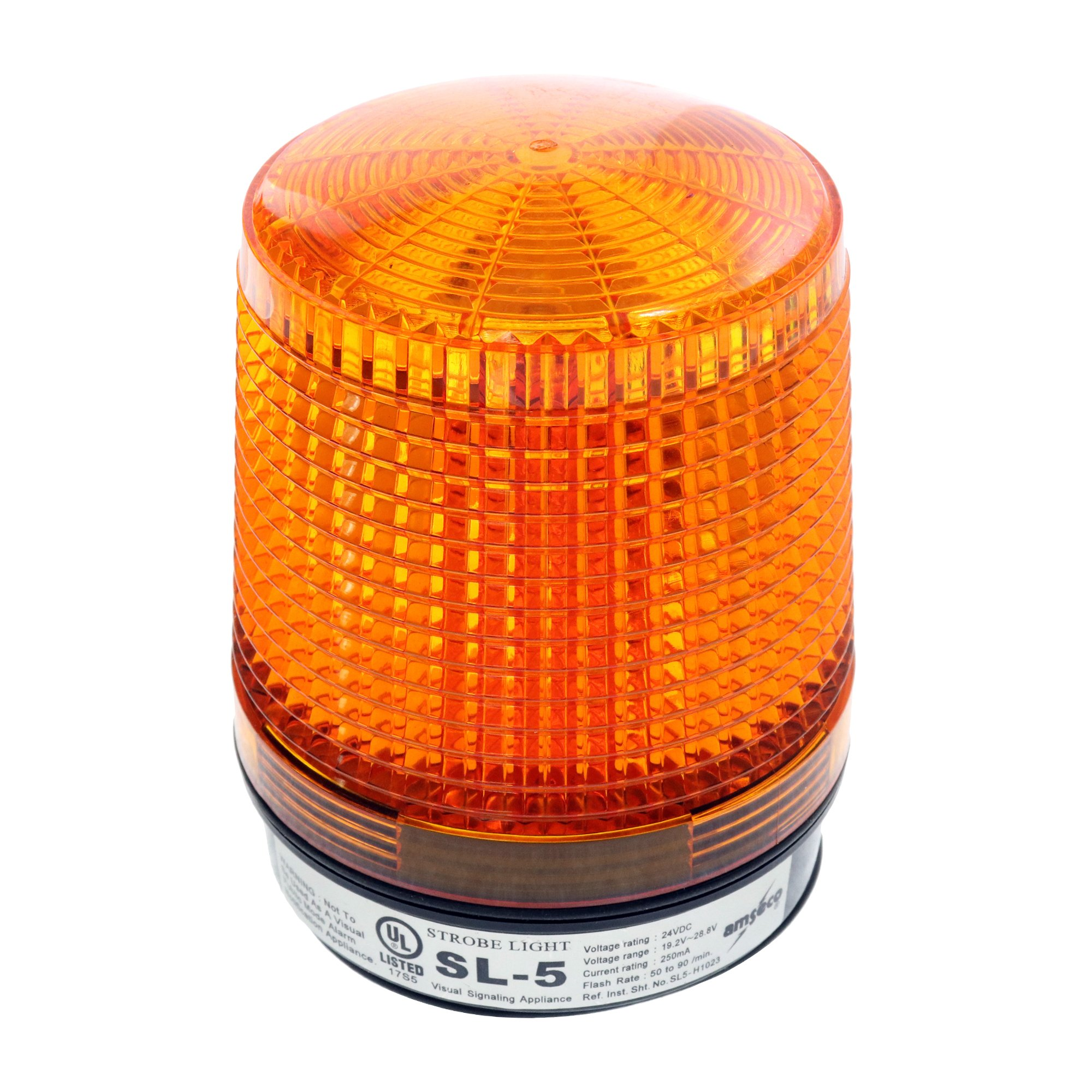 Amseco SL-5 High Intensity Solid State Conical Strobe Light, 24-Vdc, Amber