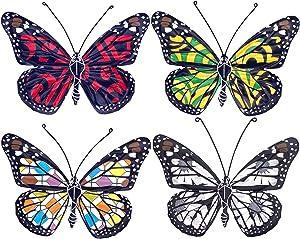 eoorau Metal Butterfly Wall Decor Outdoor - 4 Pack Inspirational Butterflies Wall Art Sculpture Hanging for Patio Garden Backyard Tree (4 Colors)